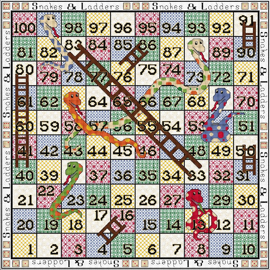 Stitch-your-own Snakes & Ladders